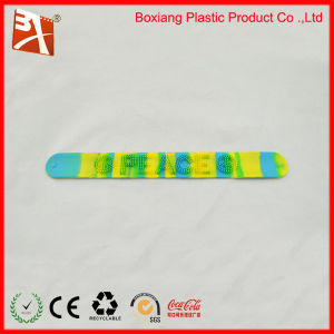 Printed Silicone Clap Wristband with Color Filled