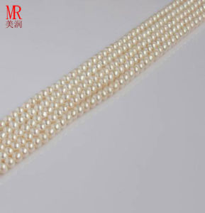 4-5mm White Natural Pearl Beads Strands, Button Round pictures & photos
