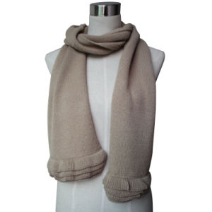 Lady Fashion Wool Acrylic Knitted Scarf with Ruffle Trim (YKY4377) pictures & photos