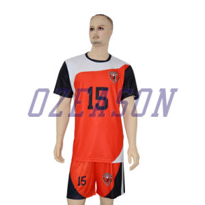 Top Quality Wholesale Nice Red Striped Black Soccer Jersey pictures & photos