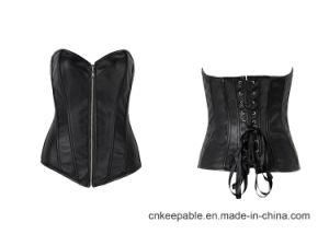 f6c63e65e936e China Womens Faux Leather Zipper Front Bustier Corset Top - China ...