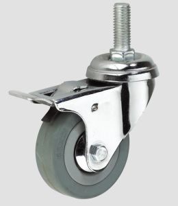 Gray Rubber Thread Industry Caster with Whole Brake