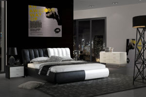Black and White Leather King Size Bed for Home (LB-037)