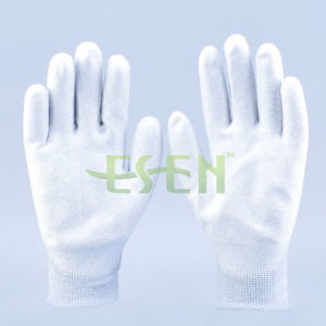 ESD PU Palm Coated Carbon Fiber Work Gloves - Safety Product Factory pictures & photos