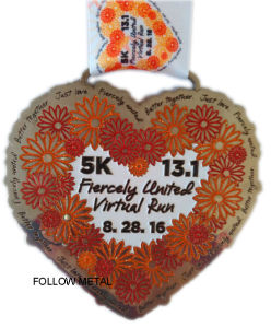 Heart Shape Medal for Run Race, Glitter Color, Printing Lanyards