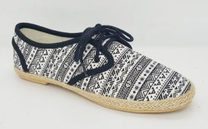 Women′s Casual Espadrille Sneakers with Lace up Shoes