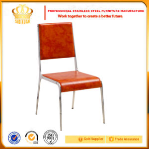 Guangdong Foshan High Grade Dining Furniture PU Stainless Steel Plate Restaurant Chair for Wholesale pictures & photos