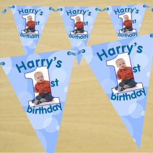 Bespoke Personalised Happy Birthday Stripe Flag Photo Bunting Banner
