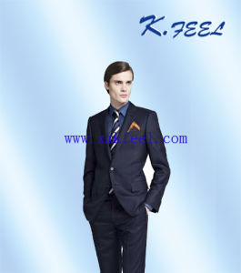 Men′s Navy Wool Business Suit (KFXF-001)
