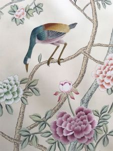 Orient Style Birds Flowers Embroidery Chinese Hand Painted Silk Wallpaper