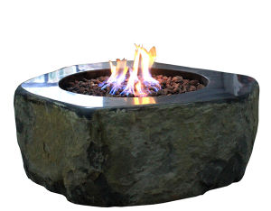 China Natural Basalt Stone Gas Fire Pits For Garden Using