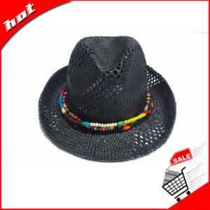 Paper Straw Hat Black Fedora Panama Paper Hat pictures & photos