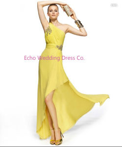 V Neck Yellow Bridesmaid Dress (EGS84)