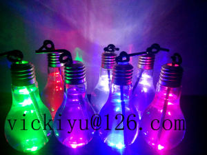 100ml~200mllight Bulb Glass Bottle Glass Drink Bottle with Lid with LED