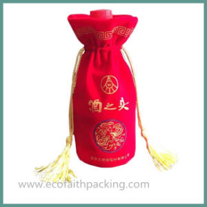 High Quality Velvet Wine Bottle Bag with Tassels