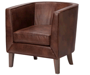 Drak Brown PU Accent Chair with Wood Frame