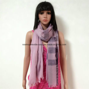 100% Polyester, Voile Yarn Dyed Material Multifunctional Scarf with Checks, 4 Sides Fringes