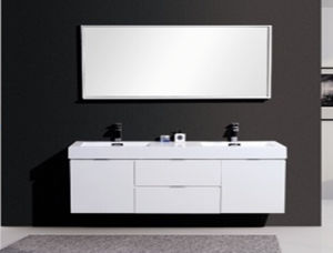 2016 Double Wash Basins Painting Bathroom Cabinet (white)
