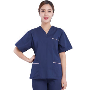 100% Cotton V-Neck Hospital Uniforms with Short Sleeve pictures & photos