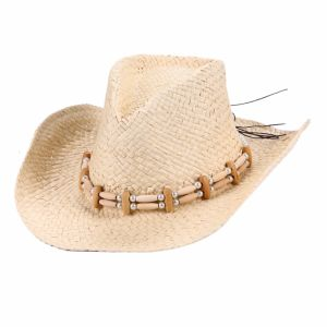 Western Cowboy Straw Hat with Wooden Bead Hatband
