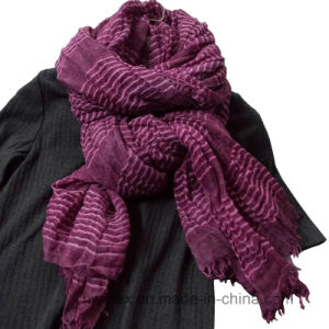 Wholesale Woven Cotton Scarf with Elastic Stripe (HWBC020) pictures & photos