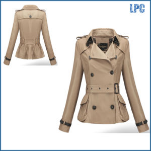 High Quality Classic Tunic Ladies Long Jacket with Waist Bel pictures & photos
