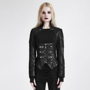 Y-672 Black Vintage Stand Collar Long Sleeves Zipper Slim-Fitting Leather Woman Jacket