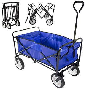 Collapsible Folding Utility Wagon Garden Cart Shopping Buggy Yard Beach Cart Blue
