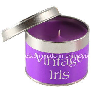 Vintage Iris Scented Soy Candle in Round Tin