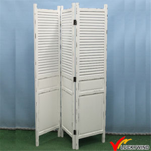 Shabby Chic Vintage Antique White Folding Solid Wood Screen Room Divider