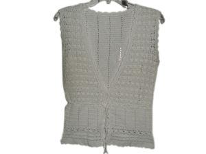 China Hand Crochet Sleeveless Cardigan For Ladies China Crochet