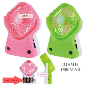 Portable Rechargeable LED Fan Lamp. Multi-Function Lamp with Fan