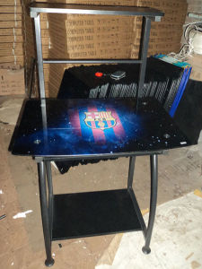 Glass Computer Desk with Picture Design