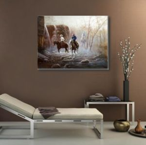 Oil Painting of Three Cowboys pictures & photos