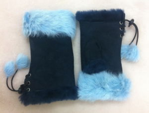 Fashion Real Fur Leather Lday′s Gloves
