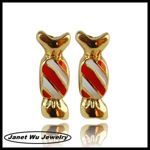 2019 18K Gold Plating Rhinestone Christmas Candy Stud Earrings