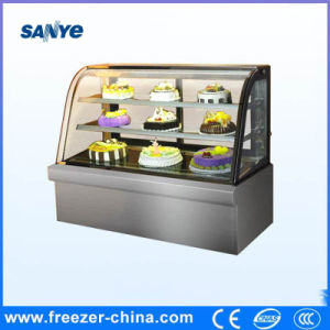 Curved Glass Stainless Steel Refrigerated Cake Showcase pictures & photos
