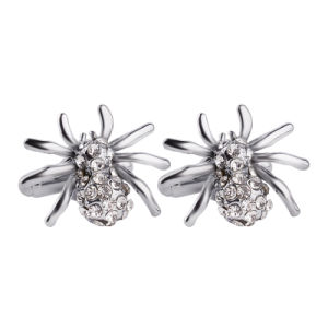 Metal Crawling Spider with Crystal Animal Novel Cufflinks Cuff Links