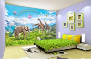 Custom Cartoon Kindergarten Children Room Cute Animal Green Pastoral Bedroom Backdrop Wallpaper Mural Painting