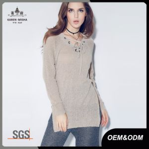Ladies Knitted V Neck Lace up Petite Sweater pictures & photos