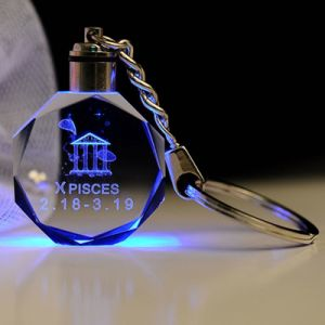Fashion 3D Laser Crystal Glass LED Key Ring pictures & photos
