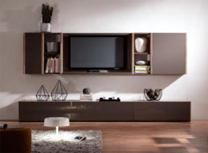 High Quality Walnut Wood TV Stand Set for Home (WT-005)