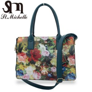 Fashion Colorful PU Handbags with Flower Pattern