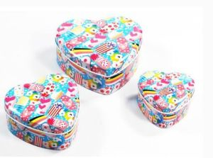 Colorful Printing Heart Shape Chocolate Tin Jar Candy Can pictures & photos