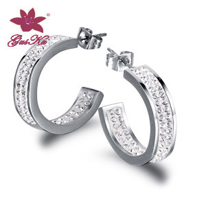 Fashion CZ Stones Stainless Steel Earrings Jewelry