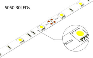 Cheap Price DC12V IP65 Waterproof 30LEDs/M 5050 LED Strip Light pictures & photos