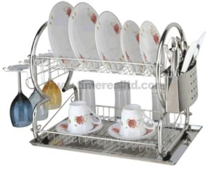 2 Layers Metal Wire Kitchen Dish Rack No. Dr16-8b pictures & photos