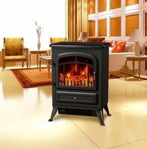 China Electric Fireplace Heater Log Burning Led Flame Effect Antique