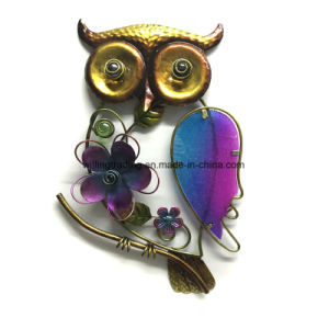 New Metal Owl W. Stained Glass Garden Decoration