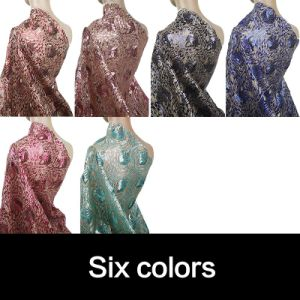 Royal Blue African Sequins Lace Fabric for Party Dress pictures & photos